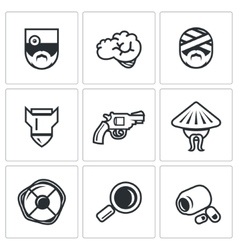 Set of military rehabilitation icons vector