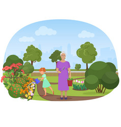 The girl watering flowers vector