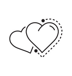 Twins heart icon dots style vector