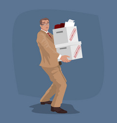 Unhappy man carry boxes with personal belongings vector