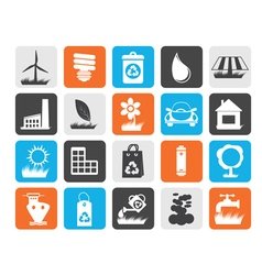 Flat Ecology and nature icons vector image