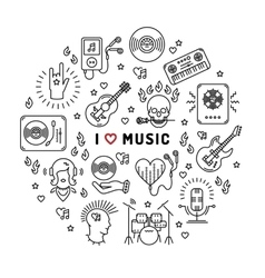 I love music line art icons circle infographic vector