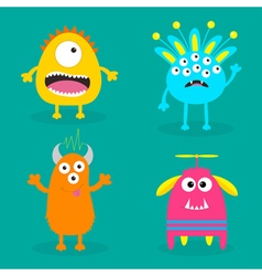 Monster set cute cartoon scary character baby vector