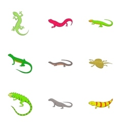 Amphibian reptile species icons set cartoon style vector