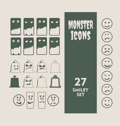set of icons for halloween party vector image