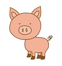 Light colored hand drawn silhouette of pig vector