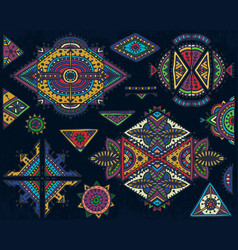 set of tribal art boho hand drawn geometric vector image