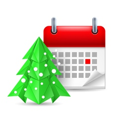 Paper pine tree and calendar vector image