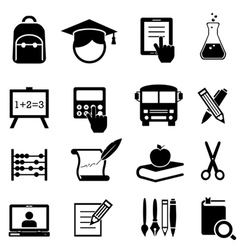 School Learning and Education Icons vector image