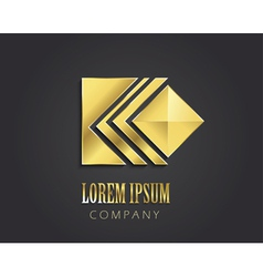 Abstract golden symbol with square for your compan vector