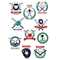 Baseball game retro emblems and icons vector