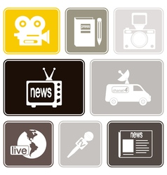 Seamless background with journalism icons vector