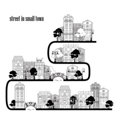 street in small town vector image