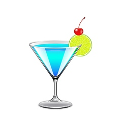 Blue lagoon cocktail isolated on white vector