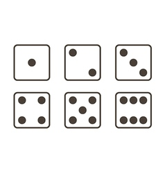 Outlined black and white dice icons vector