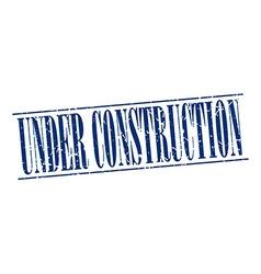 under construction blue grunge vintage stamp vector image
