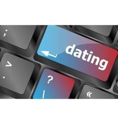 Dating computer key showing romance and love vector