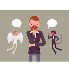 Angel and devil hovering over a thinking man vector