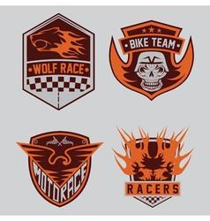 Auto and moto racing emblem set and design vector