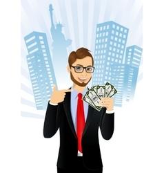 Bank representative holding a fan of money vector