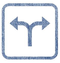bifurcation arrows left right fabric textured icon vector image vector image