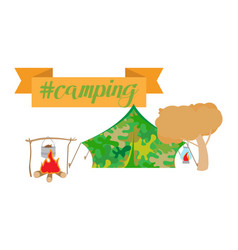 Camping collection on white vector