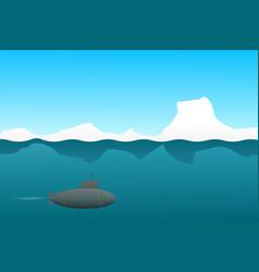 Cartoon submarine floats underwater in the arctic vector