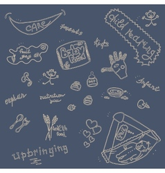 Childcare Doodle Icon Set On Blue vector image