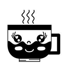 contour kawaii cute happy coffee cup vector image vector image