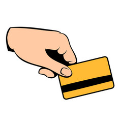 credit card in hand icon cartoon vector image