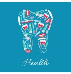 Dental health poster of dentistry items vector