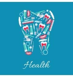 Dental health poster of dentistry items vector