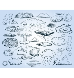 Doodle Collection of Hand Drawn Clouds vector image vector image