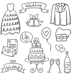 Doodle of wedding style hand draw vector