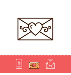 Email icon phone sign envelope line thin symbol vector