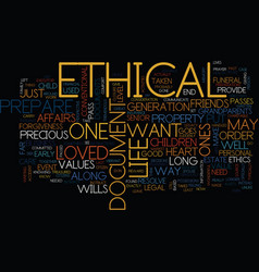 Ethical wills text background word cloud concept vector