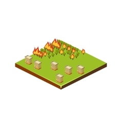 Fire in forest natural disaster icon vector