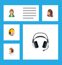 Flat icon center set of secretary earphone vector