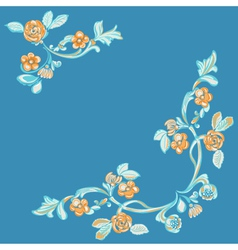 Floral pattern blue background vector