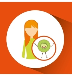 Girl cartoon and kiwi cute fruit icon vector
