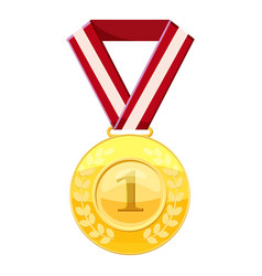 Gold first place medal on a red ribbon icon vector