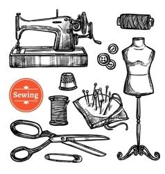 Hand drawn sketch sewing set vector