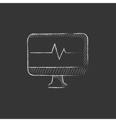 Heart beat monitor drawn in chalk icon vector