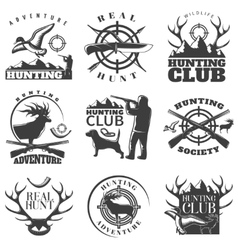Hunting emblem set vector
