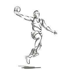 line sketch basketball player vector image vector image