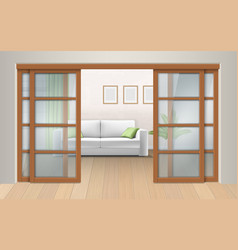 living room interior with sliding doors vector image vector image