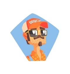 Long Distance Truck Driver Portrait vector image