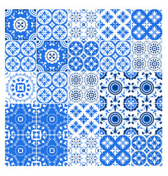 Majolica tile collection azulejo design blue vector
