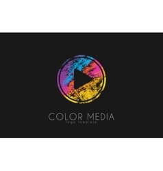 Media logo Color media Paly button logo Music vector image
