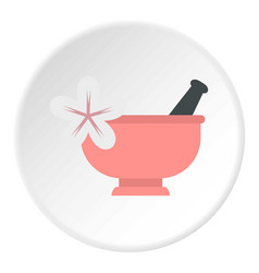 Mortar and pestle icon circle vector